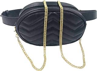 Women Waist Bag Fashion Belt Packs Round Fanny Packs Stylish PU Waist Pouch Adjustable Belt Chain Shoulder Bag by VAQM (Black)