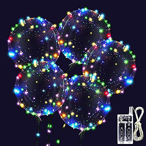 10 Pezzi Palloncini LED Luminoso, Trasparenti Palloncini a Con Colorati Luci Stringa, Adatti per Compleanni, Matrimoni, Feste, Palloncini Lampeggianti Natalizi (Colore)