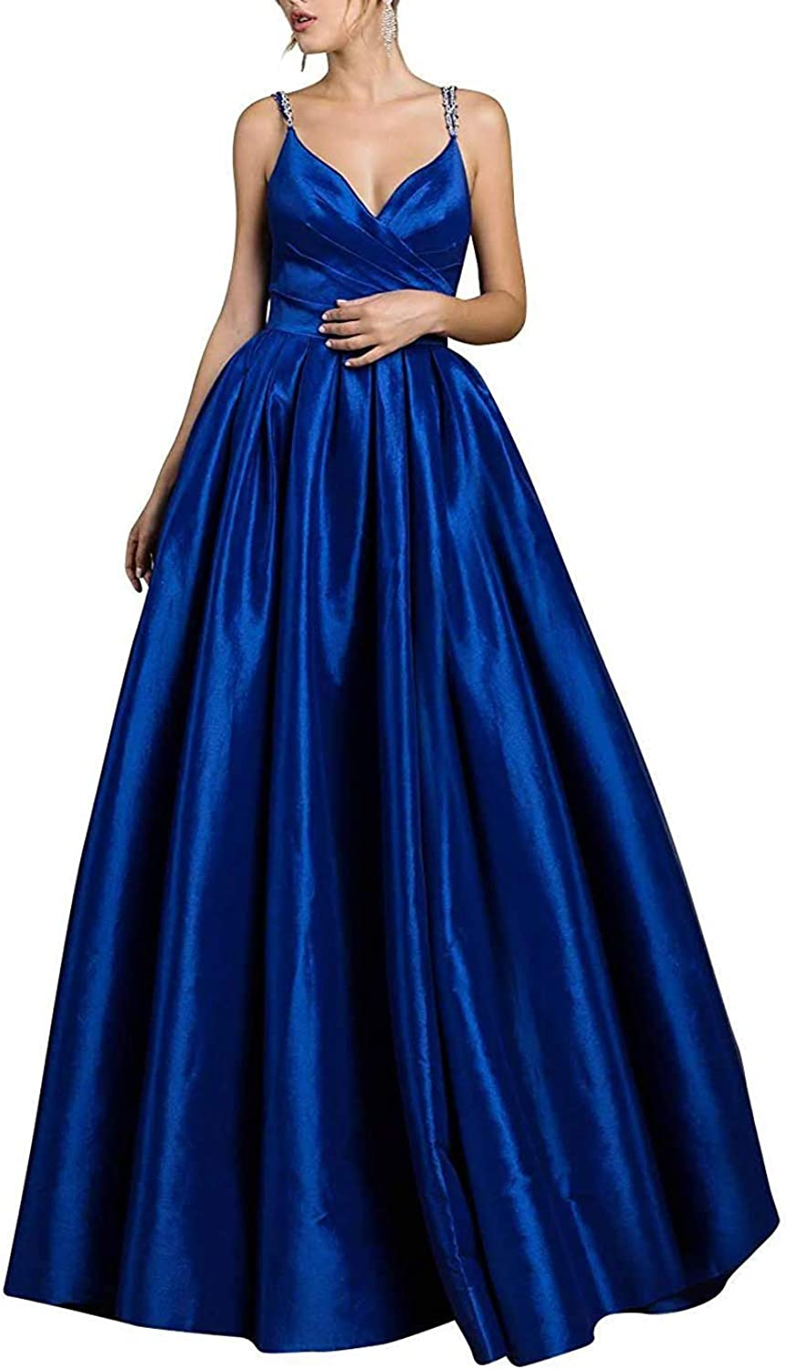 Staypretty Long Prom Gowns Satin Aline V Neck Beaded Evening Dresses with Pockets