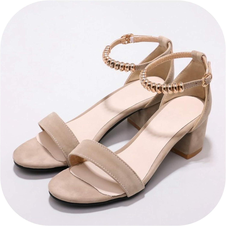 Women's Sandals Summer Flock Solid Open Toe String Bead Buckle Thick Heel mid Heel Women's shoes