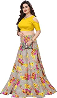 ac7b3036fd Naari Vastram Women's Art Silk Printed Semi Stitched Lehenga Choli