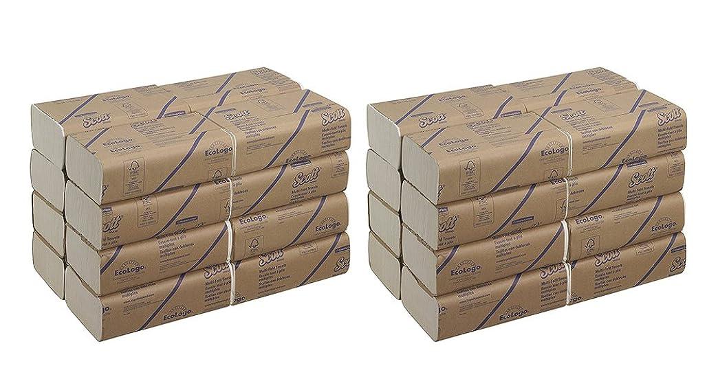 力強い才能のあるペンダントスコット?Multifold用紙yqevqタオル( 01804?) with速乾性吸収性ポケット、ホワイト、16パック( 2パック)