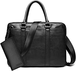 Simple Famous Business Men Briefcase Bag Luxury Leather Laptop Bag Shoulder Bag black wallet