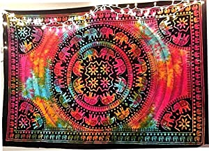 DIYANA IMPEX Elephant Tapestry Indian Wall Decor Hippie Mandala Tapestry Boho Tapestry White Color Wall Hanging