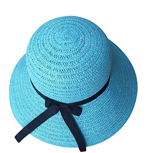 Hirolan Damen Sonnenschutzvisier mit Strohhut Foldable Ladies Straw Beach Sun Damen Cowboyhut Strohhut Westernhut Hut mit Hutband Türkis Sonnenhut Sommer Cap