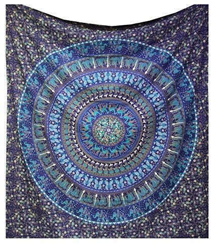 Raajsee Indisch Psychedelic Wandteppich Mandala Blau Turquoise / Kamel Elefant Boho Wandtuch Hippie/ Indien Wandbehang baumwolle Tuch Twin 54x82 Inches