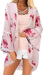 PINKMILLY Women Floral Bell Sleeve Kimono Lace Trim Cardigan Blouse
