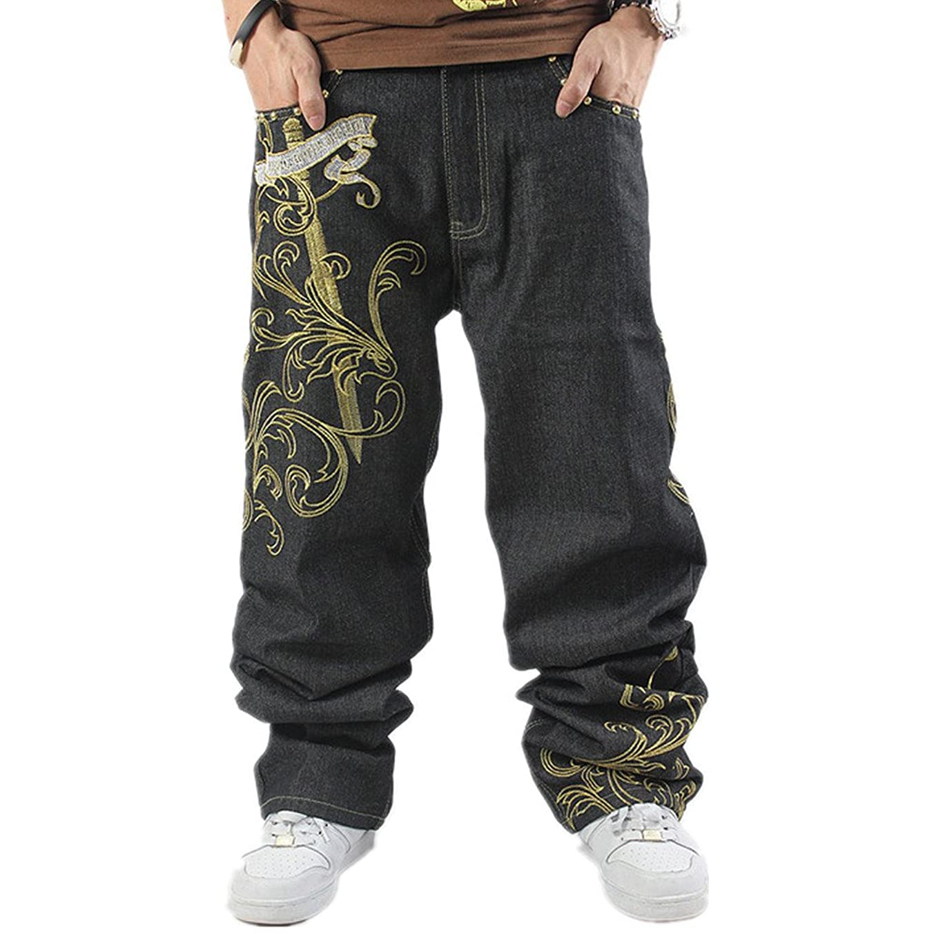 Ruiatoo Men's Fashion Embroidery Print Hip Hop Loose Jeans Baggy Jeans Black