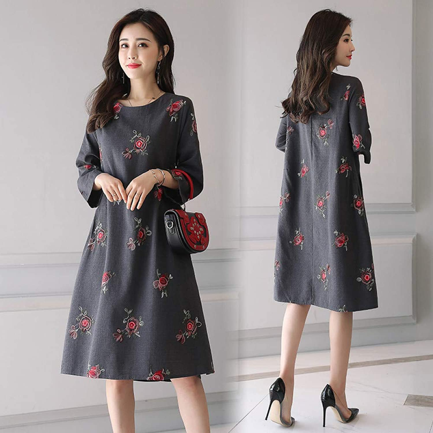 Cxlyq Dresses Large Size Jacquard Cotton and Linen Embroidered Dress Linen Pleated Slim Retro Women's Clothing