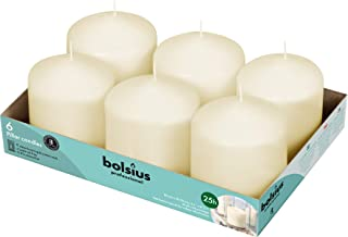 """Bolsius Ivory Pillar Candles – 3x3"""" Unscented Candle Set of 6 – Dripless, Smokeless, and Clean Burning Household Dinner Ca..."""
