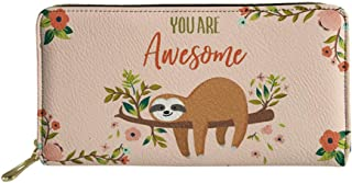 Showudesigns Long Wallet for Women Sloth You are Awesome Design PU Leather Wallet with Money Clip Teen Girls Phone Credit Card Holder Clutch Pink