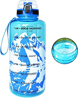 QuiFit 43 oz Motivational Water Bottle - with Time Marker & Strainer Leak-proof Durable BPA Free Large Capacity Infuser Fr...