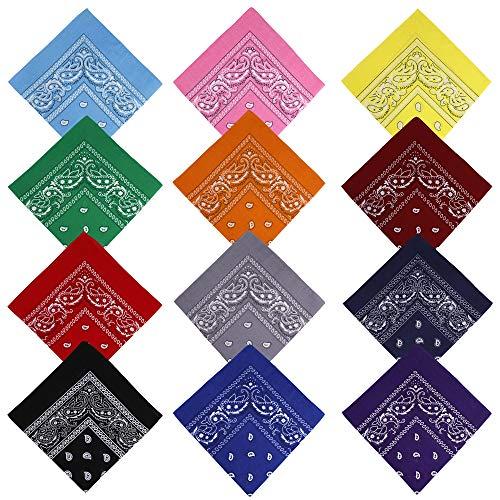 RZKJ-SHOP Bandana Gorros, Pañuelo para el Pelo Algodón con Paisley Pattern Headwear, Cuello, Cabeza, Pañuelo de Bolsillo, Multifuncional para Hombre, Mujer y Niño, Multicolor, 12 Unidades