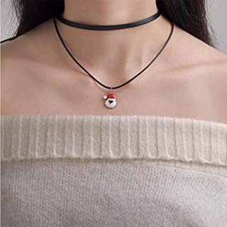 Dreamyn Simple Choker Necklaces for Women Santa Claus Layered Necklace Chain Christmas Pendant Necklace Jewelry Accessory ...