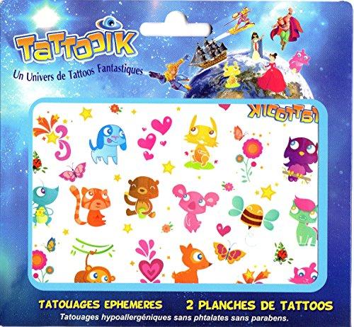 Tatouage temporaire ephemere ANIMAUX poney papillon ecureuil chouette abeille souris koala singe faon chat TATTOOIK hypoallergénique Fabriqué en FRANCE. Fille et Garçon 2 planches environ 40 tattoos Enfant