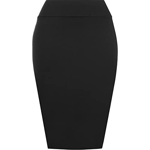 6d0104fea WearAll Womens Plain Bodycon Pencil High Waisted Ladies Stretch Midi Skirt  8-14