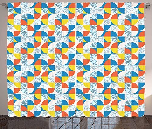 ABAKUHAUS Geometrisch Rustikaler Gardine, Bauhaus-Rundform, Schlafzimmer Kräuselband Vorhang mit Schlaufen und Haken, 280 x 175 cm, Mehrfarbig
