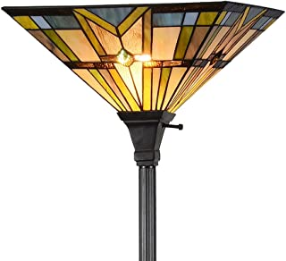 Tiffany Style Mission 1 Light Torchiere Floor Lamp Tall 69-Inch, 14-Inch Wide, Multi-Colored
