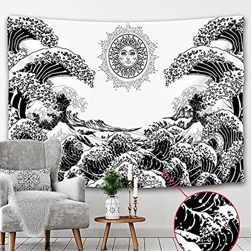 PPOU Tapiz de Paisaje de Playa de Estilo japonés Colgante de Pared decoración del hogar Estilo Bohemio Revestimiento de Pared Manta Tela Colgante A9 150x200cm