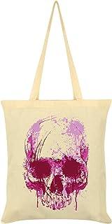 Unorthodox Cursive Skull Tote Bag Cream 38 x 42cm