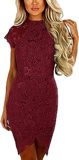 6d682d95f1a2a YOINS Women Dress Sexy Bodycon Crochet Lace Wrap Front Long Sleeves Mini  Dress