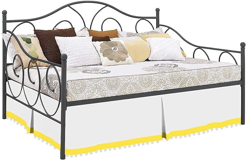 Idle Decor Japan Maker New King Max 85% OFF Size Pom Two Tone 100% Skirt Daybed Egyptian