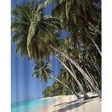 Sanixa PA80129 Cortina de ducha textil, 180 x 200 cm, palmeras, playa, mar, impermeable, lavable, alta calidad con anillos