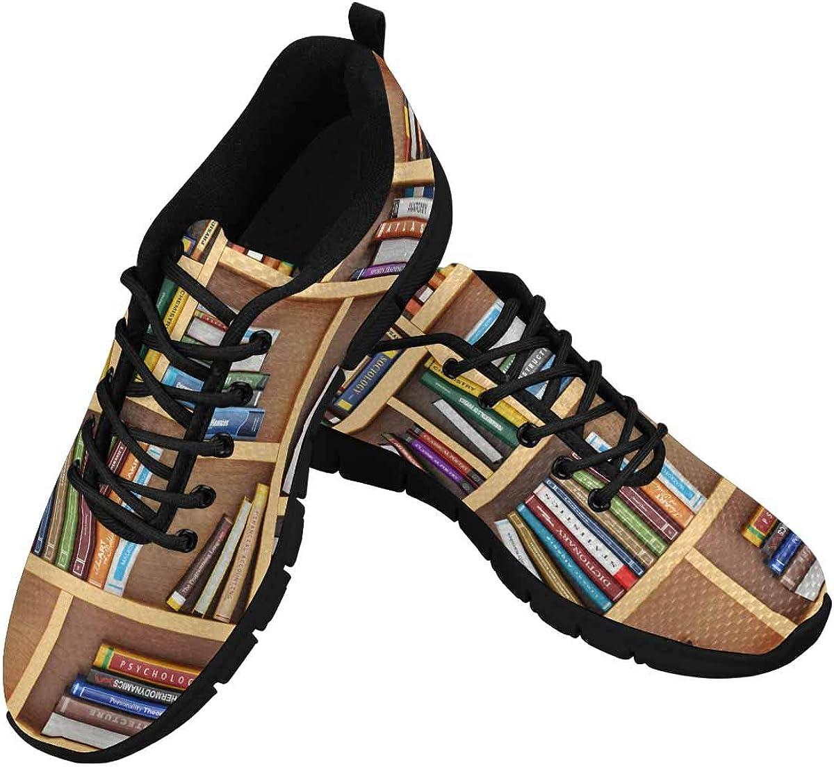 INTERESTPRINT Books on The Bookshelf Lightweight Mesh Breathable Sneakers for Women