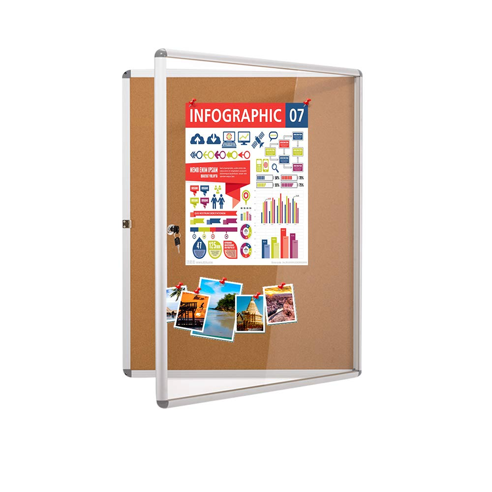 MAKELLO Enclosed Bulletin Aluminum 20x16inches