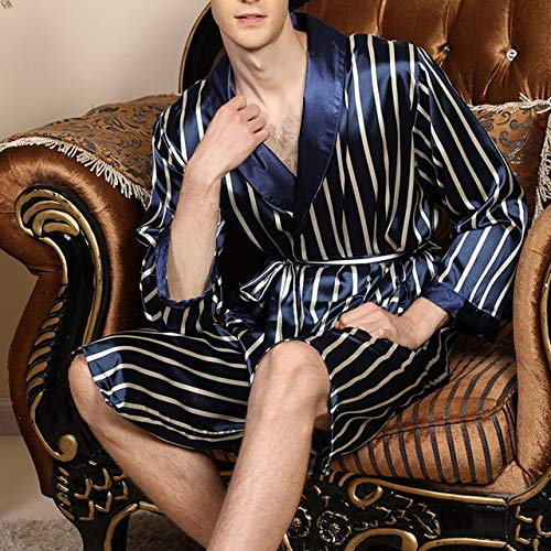 IAMZHL Primavera Verano Pijamas para Hombre Delgados Raya Pijamas de Manga Larga Bata de Noche Bata Hombre Seda Satén Kimono Albornoz Ropa de Dormir-Blue-1-M