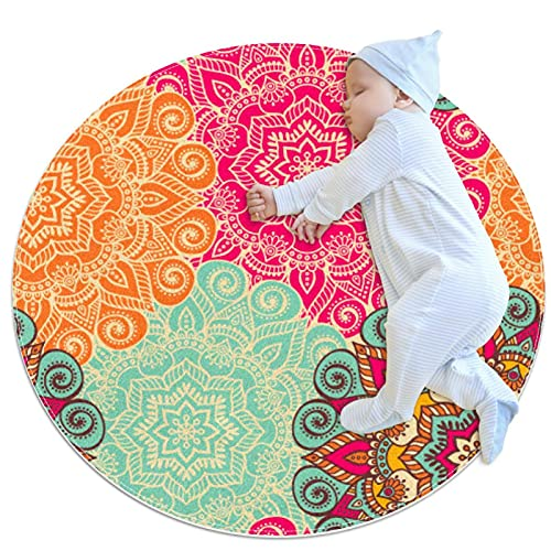 JHKHJ Alfombra de cocina lavable entrada alfombra escritorio alfombra baño acento alfombra colorido Boho Floral 100x100cm