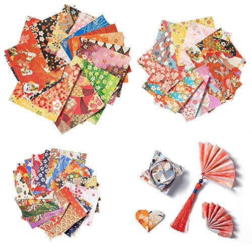 Diealles Shine Washi Origami Papier Set, 72 Blatt DIY Handwerk Origami-Papier für Origami und Bastelprojekte, Einseitig, 3 Größen, Random Color