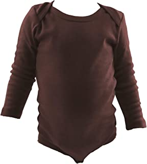 COUVER Unisex Baby Infant Toddler Long Sleeve Lap Shoulder Solid Color Bodysuit Onesie