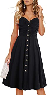 Drimmaks Women's Summer Spaghetti Straps Sundress Buttons Down Ruched Sweetheart Neck Casual Beach Holiday Dress