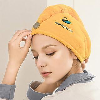 Hair Drying Towel Quick Dry Hair Cap Water Absorbent Dry Hair Shower Cap Soft Microfiber Bath Towel, 65 CM x 25 CM(Yellow)