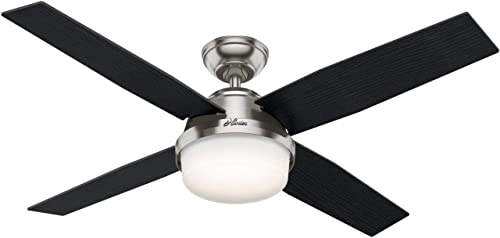 """new arrival Hunter Dempsey new arrival Indoor Ceiling lowest Fan with Tunable LED Light and Remote Control, 52"""", Brushed Nickel outlet sale"""