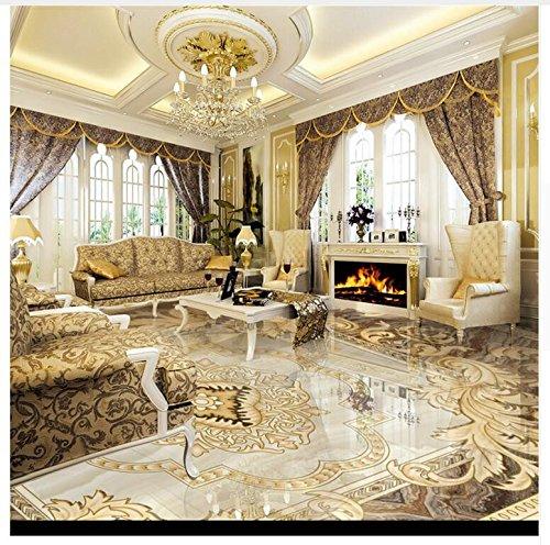 3D Hintergrundbild Wallpaper Boden Pvc Wandbild Wasserdichte Boden-Tapete Kundenspezifisches Foto-Boden-Wandbild-Tapete 3D Klassisches Europäisches Hotel-Badezimmer Pvc-Wohnzimmer 200X140Cm,Ayzr