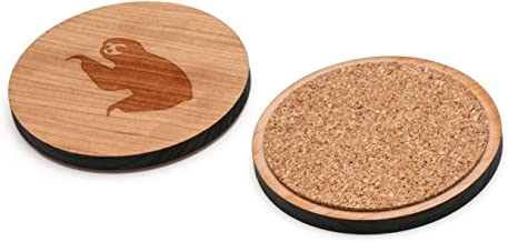 WOODEN ACCESSORIES CO Wooden Coaster Set With Laser Engraved Sloth Design - Set of 4 Laser Cut Coasters - Cherry Wood Round Wooden Coasters - Made In The USA