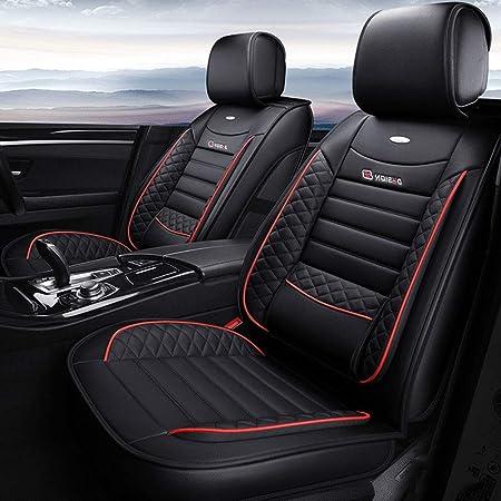 Yangd Autositzbezüge Set Leder Universal 5 Sitze Sitzkissen Für Die Vordersitze Und Rückbank Sitzauflagen Sitzschutz Color Black Auto