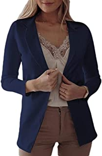 Women's Lightweight Stretchy Ruched Sleeve Open Front Work Office Blazer Jacket