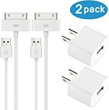 ESK (TM) Certified 6 Feet 30 Pin USB Charging Cable with 5W USB Power Adapter for for iPhone 4/4s, iPhone 3G/3GS, iPad 1/2/3, iPod touch 1/2/3/4 (2 Pack)