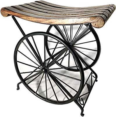 FWI Wooden Iron Antique Attractive Wheel Look Base Sitting Stool and Garden Table for Sitting, Living Room Bedroom and Home (Brown, Black, Medium Size, 15 X 15 X 10 Inches)