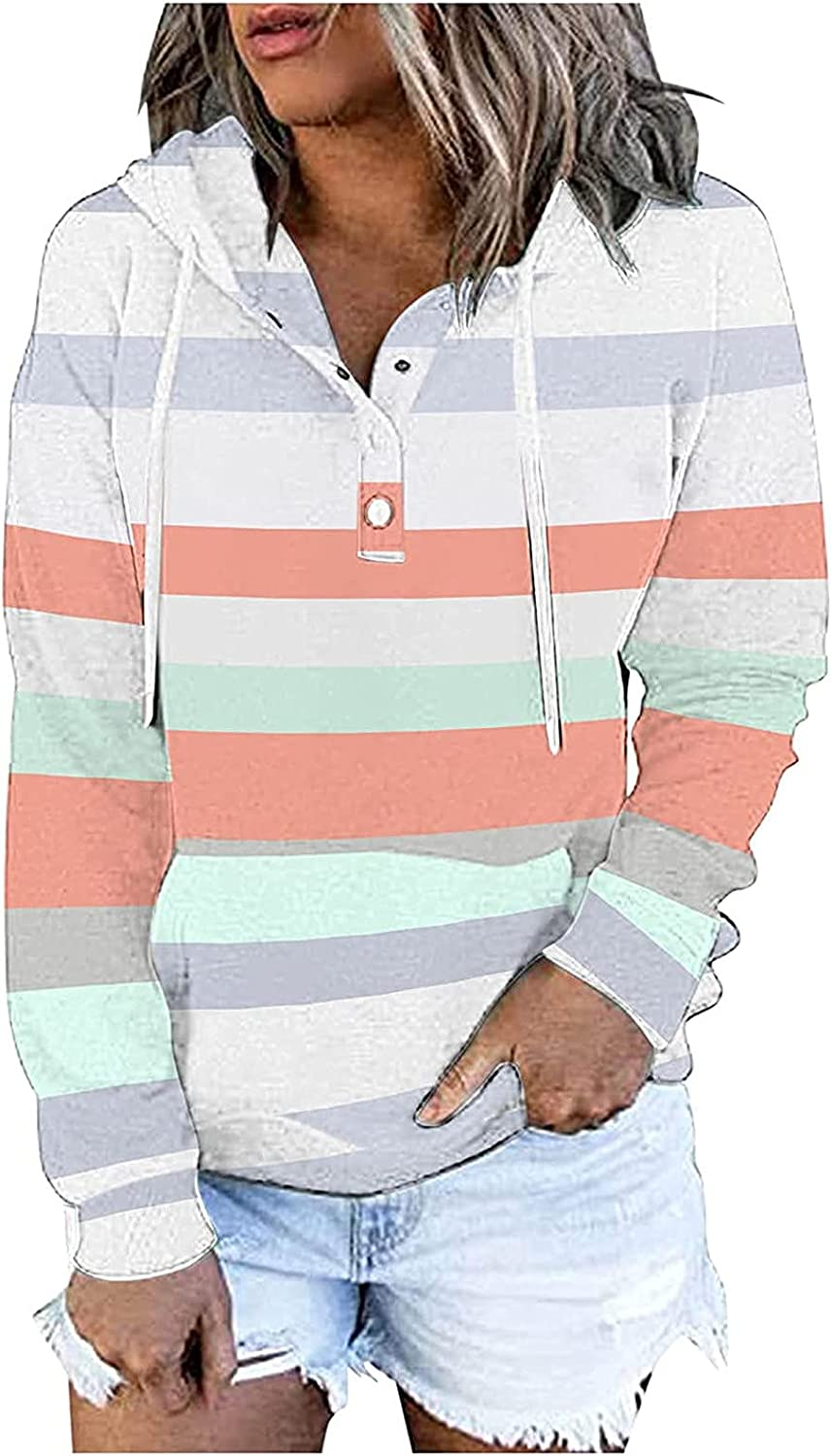 Button Down Hoodies for Women Ov Sweatshirts Sleeve Excellent Direct sale of manufacturer Long Striped