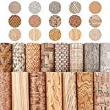 FINGERINSPIRE 15pcs Cork Printed Faux Leather Sheets Cork Pattern Synthetic Leather(8' X12') Self-Adhesive Back for Making Earring, Jewelry, Bag, Phone Cover, Hair Accessories DIY Craft