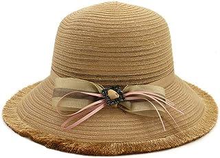 Songlin @ yuan Summer Hat Women's Straw Hat Sun Hat Beach Hat Bowknot Handmade Hat Size:56-58CM (Color : Coffee, Size : 56-58CM)