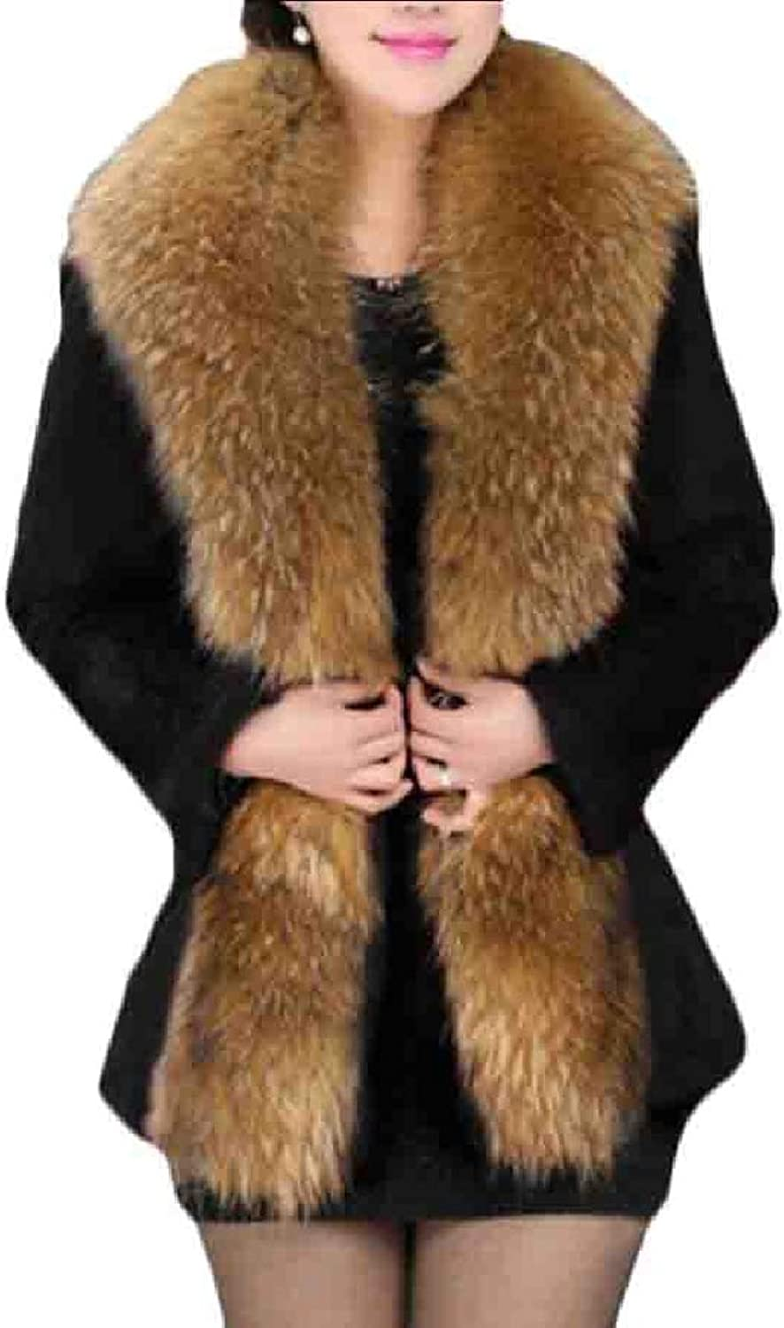 Esast Women Thicken Faux Fur Collar Coat Jacket Winter Warm Outwear