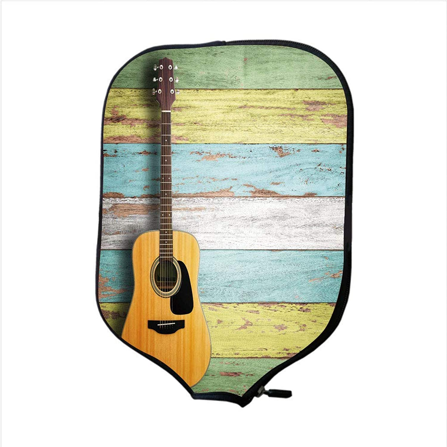 Fine Neoprene Pickleball Paddle Racket Cover Case,Music Decor,Acoustic Guitar on colorful Painted Aged Wooden Planks Rustic Country Decor,Multicolor,Fit for Most Rackets