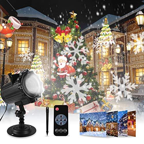 Proiettore Luci Natale, Proiettore Natale Esterno Interno Proiettore Fiocchi di Neve Impermeabili lampada proiettori LED 16 Diapositive con Telecomando RF per luci natalizie, Compleanno, Capodanno