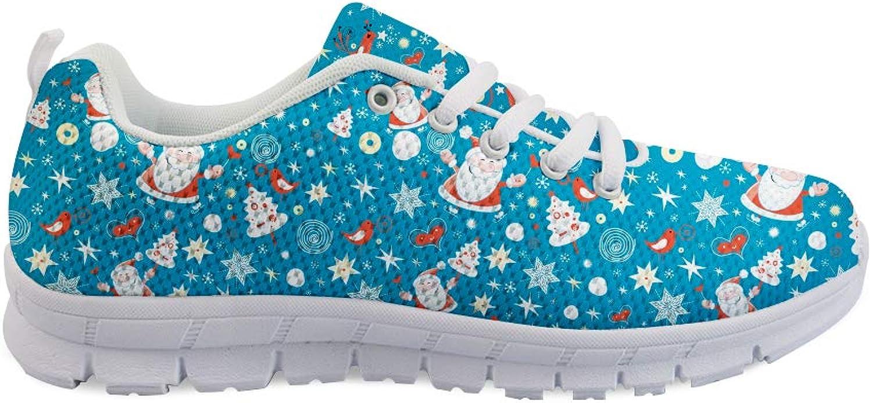 Owaheson Lace-up Sneaker Training shoes Mens Womens Xmas Skating Magical Santa Claus