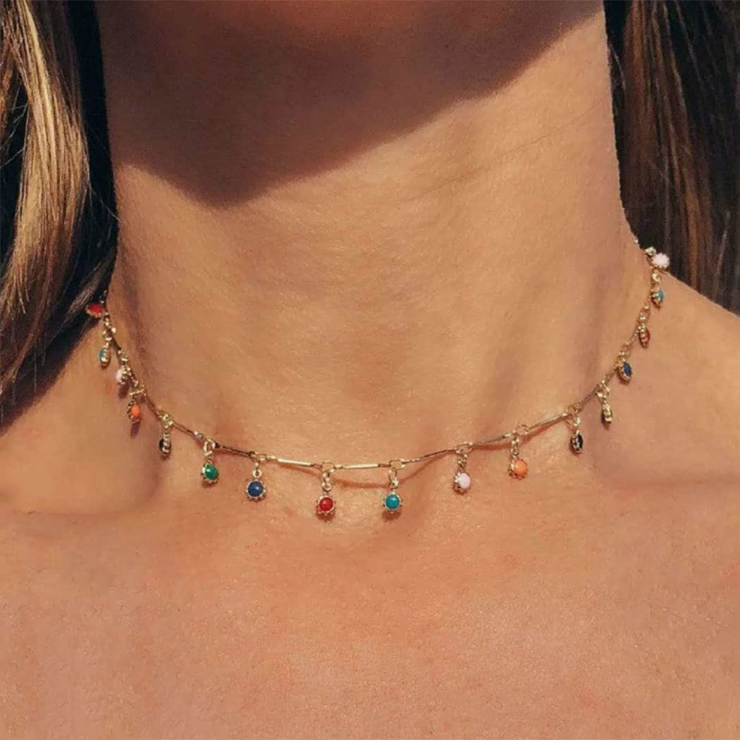 Cliory Beaded Choker Necklace Colorful Gold Chain Necklace Tassel Beads Pendant Jewelry for Women Girls